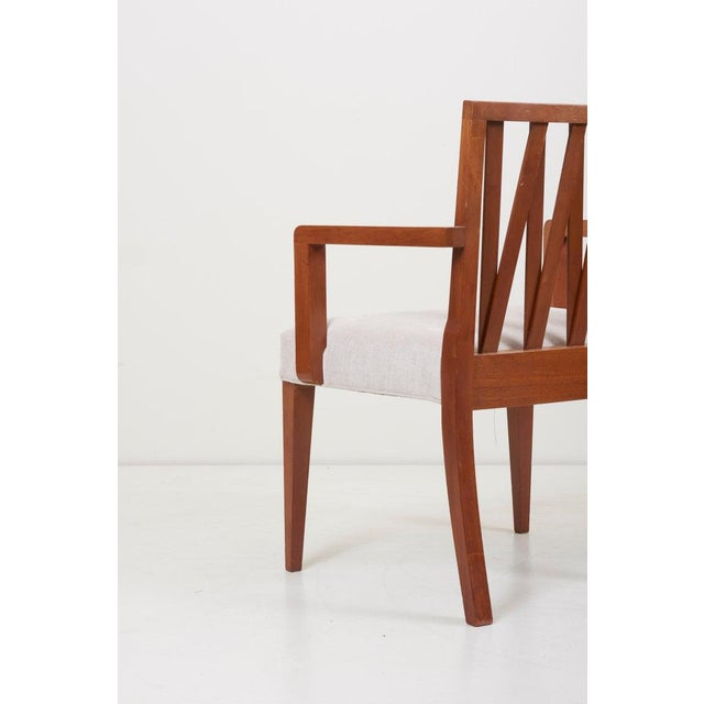 Paul Frankl Newly Restored Set of 8 Lattice Back Dining Chairs Attributed to Paul T. Frankl For Sale - Image 4 of 13