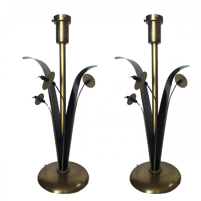 Pair of Mid Century Brass and Black Metal Willow Table Lamps For Sale - Image 11 of 11