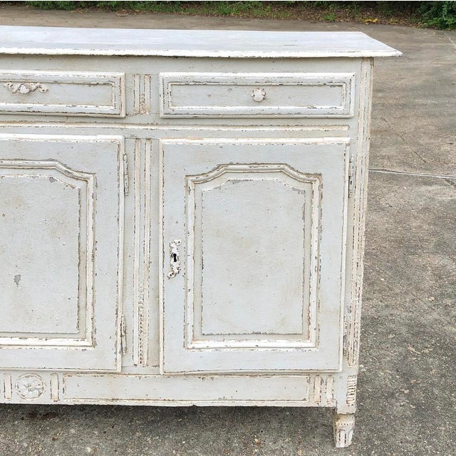 Wood 18th Century Country French Louis XVI Painted Buffet For Sale - Image 7 of 13