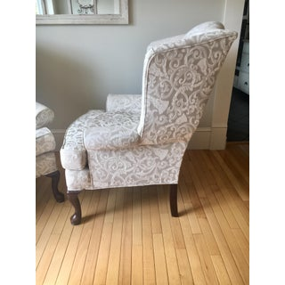 Greige Damask Queen Anne Wingback Chairs - a Set Preview