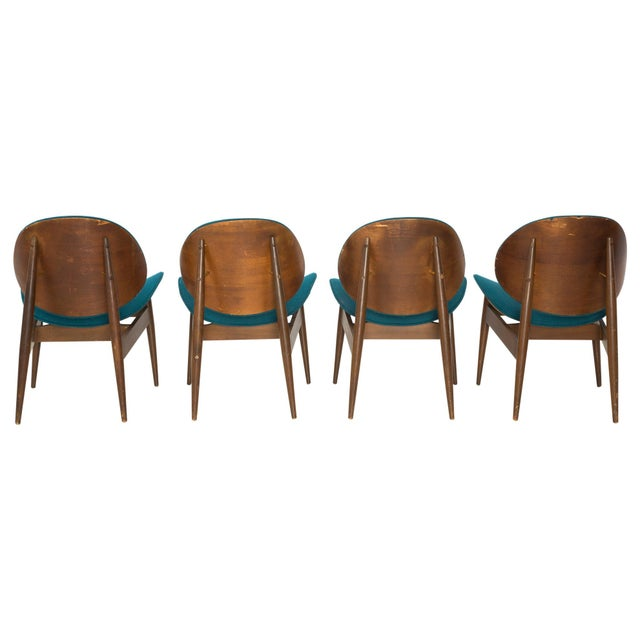 Kodawood Bentwood Clam Teal Chairs - Set of 4 - Image 3 of 10