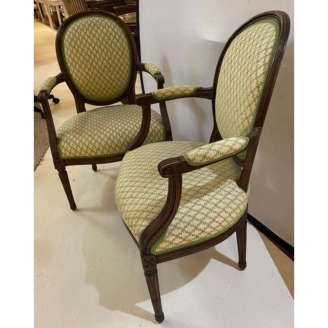Wood French Maison Jansen Bergeres or Armchairs in Walnut, Stamped Jansen - a Pair For Sale - Image 7 of 13