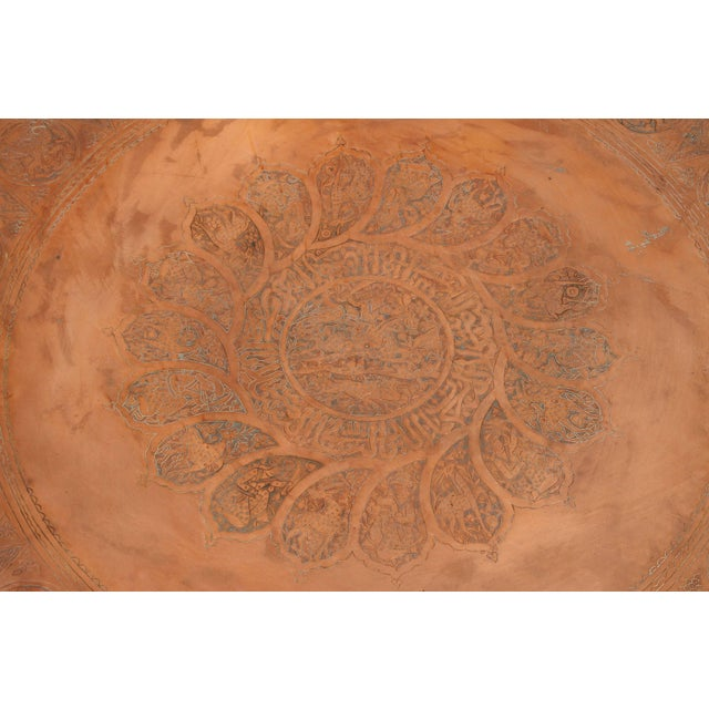 """Very large 44"""" Persian copper tray, finely hand crafted, hammered and incised with medallion of figures, animals and birds..."""