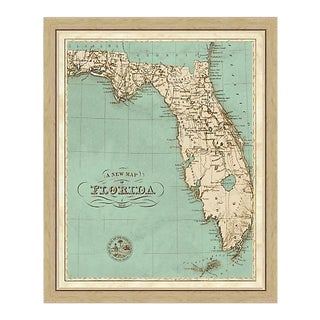 Vintage Framed Map of Florida For Sale