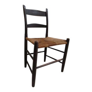 Antique Shaker Rush Seat Side Chair For Sale