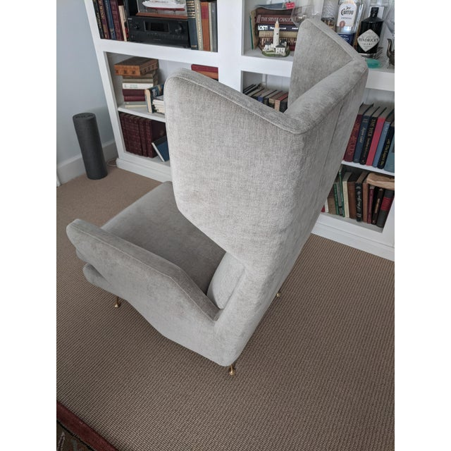 Mid-Century Modern Italian Style West Elm Wing Chair For Sale In New York - Image 6 of 10