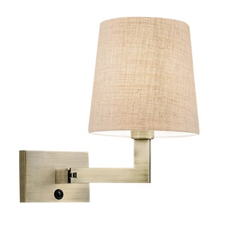 Antique Brass Wall Light With Swivel Arm For Sale
