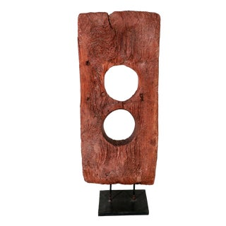Vintage Hand Hewn Asian Wood Sculpture For Sale