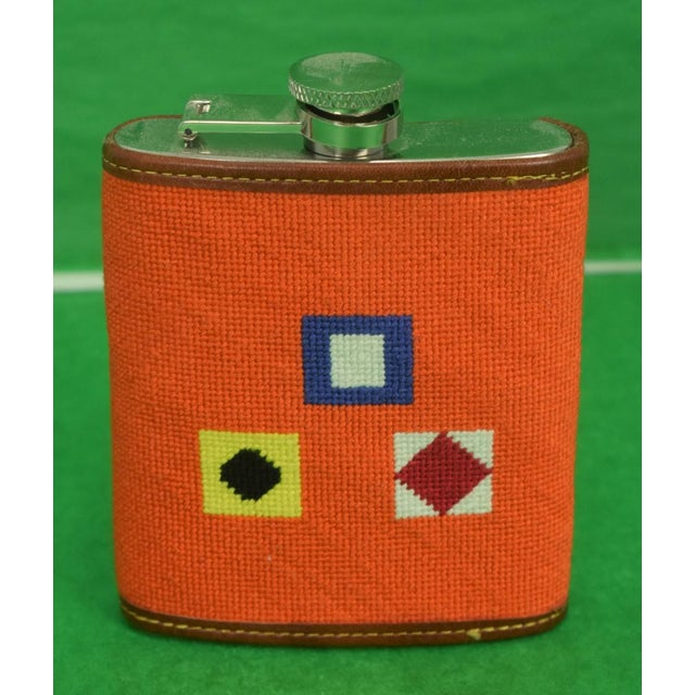 Needlepoint Signal Flag 6 Oz Flask For Sale In New York - Image 6 of 6
