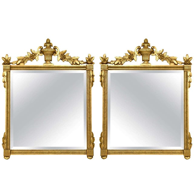 Giltwood Neoclassical Style Giltwood Mirrors - A Pair For Sale - Image 7 of 7