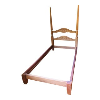 Vintage 1960s Modern Rustic Oak Twin Bedframe For Sale