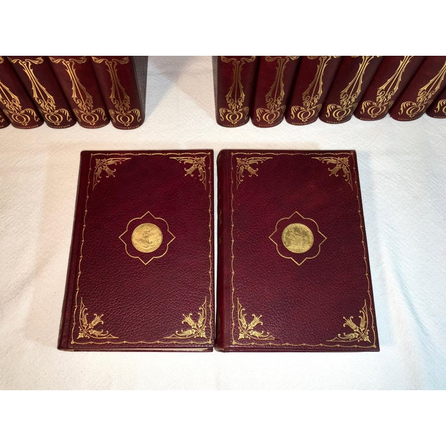 Animal Skin Antique Red Leather Library of Southern Literature Books - Set of 17 For Sale - Image 7 of 11