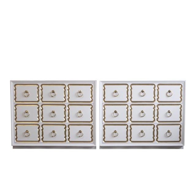 Dorothy Draper Espana Chests Lacquered in Creamy White - a Pair For Sale
