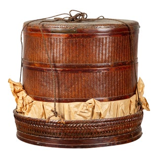 Chinese 19th Century Tiered Food Basket with Stacking Parts, Paper and Rope Ties For Sale