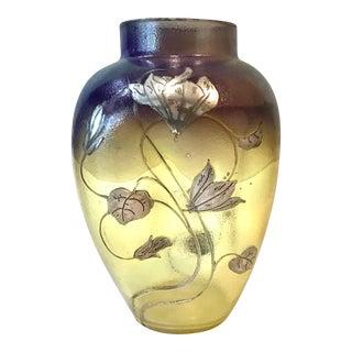 Art Nouveau Sterling Silver Overlay Floral Art Glass Vase For Sale