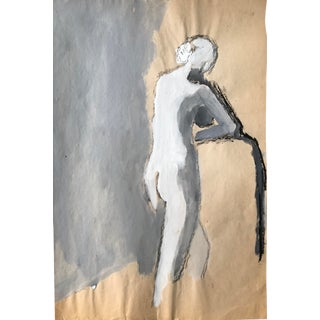 "1960s Bay Area Figurative Painting Female Nude ""Leg Stretch"" For Sale"