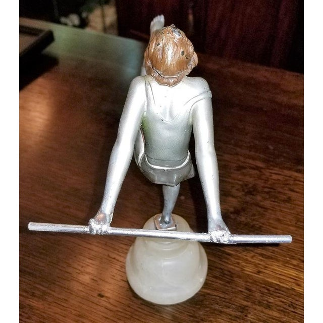 LOVELY Art Deco, cold painted, figurine of a dancing girl. This is a really pretty little Art Deco figurine on an onyx...