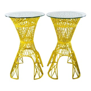 1960s Vintage Mid Century Modern Yellow Faux Wicker Glass Top Side Tables - a Pair