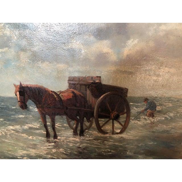 Impressionist Henriette Hubregtse-Lanzing Antique Dutch Oil Painting, Horse & Fisherman For Sale - Image 3 of 10