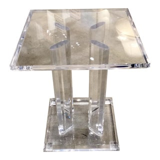 1970s Hollywood Regency Lucite Side Table For Sale