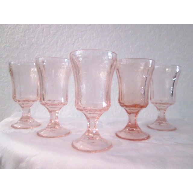 Vintage Blush Pink Madrid Goblets - Set of 5 - Image 2 of 6