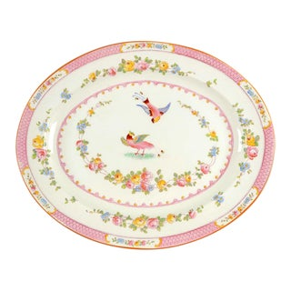 "George Jones & Sons Paradise Pink 17"" Oval Serving Platter For Sale"