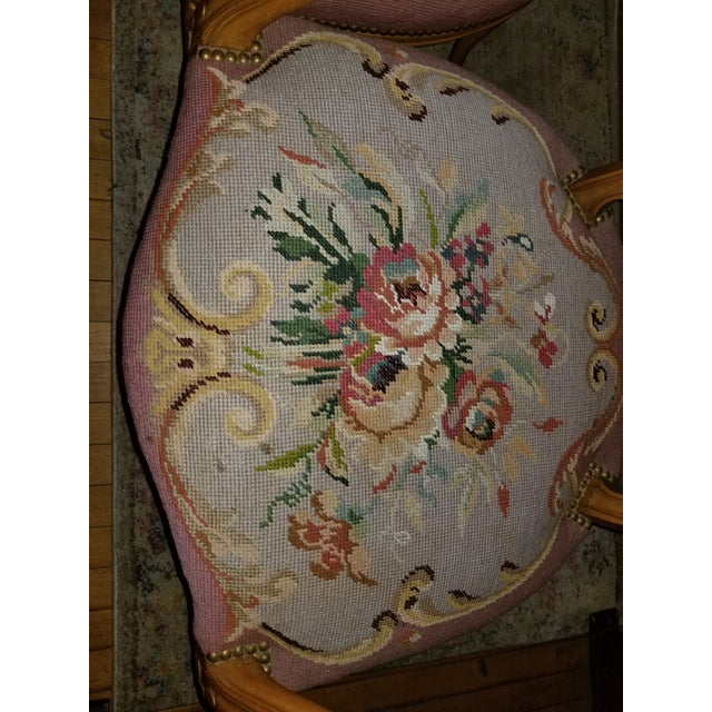 1960s Vintage Needlepoint French Chairs - a Pair For Sale - Image 6 of 11
