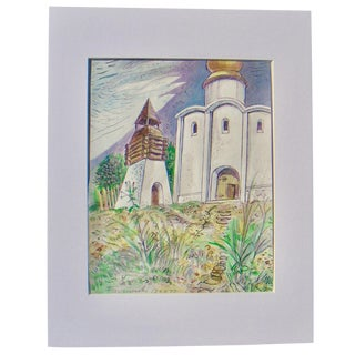 "Faczynski ""Wooden Church"" Polish Painting For Sale"