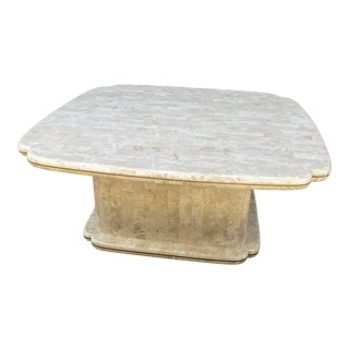 Postmodern Tessellated Stone & Brass Coffee Table For Sale