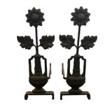 Image of 19th Century Arts & Crafts Period Iron Sunflower Andirons - a Pair For Sale