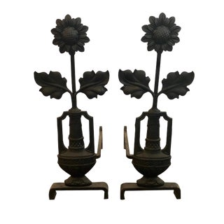 19th Century Arts & Crafts Period Iron Sunflower Andirons - a Pair For Sale