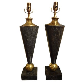 1970s Tessellated Stone and Brass Lamps - a Pair For Sale