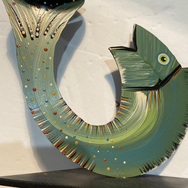 Green Robert Shields Folk Art Metal Fish Candle Holder For Sale - Image 8 of 13