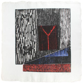 Gary Lee Shaffer Large Abstract Collograph Print on Handmade Paper, 1989 1989 For Sale
