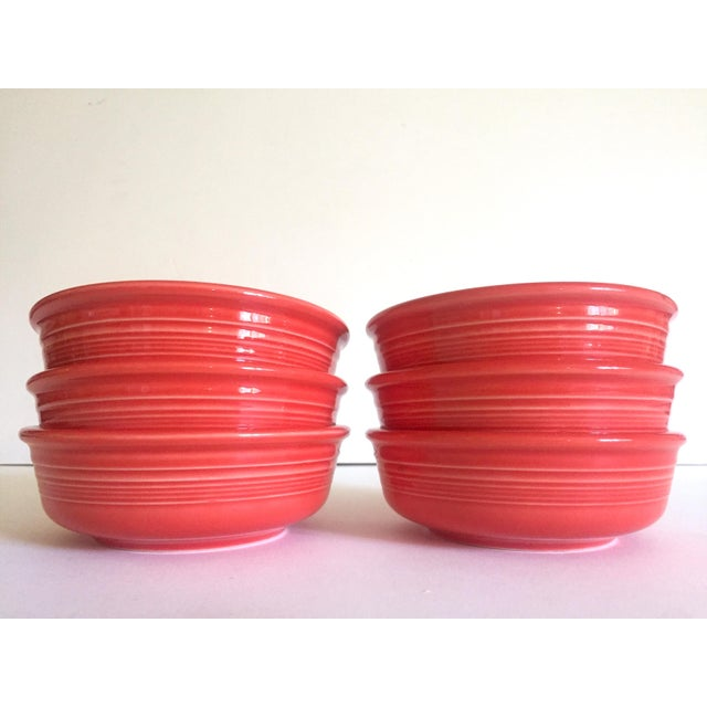 Americana Vintage 1980's Fiesta Ware Homer Laughlin Persimmon Coral Coupe Cereal Soup Bowls - Set of 6 For Sale - Image 3 of 13