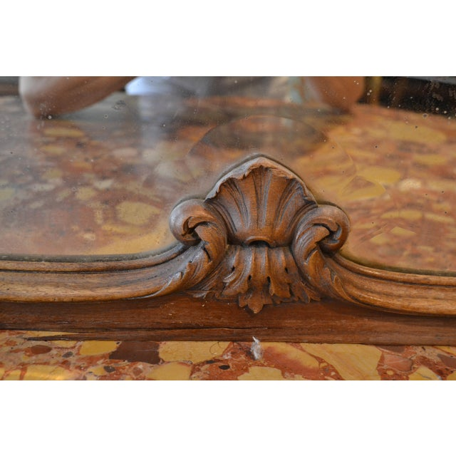 Antique French Walnut Mirror For Sale - Image 4 of 6