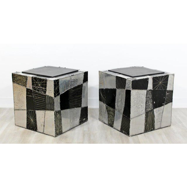 1970s Mid-Century Modern Pair of Paul Evans Argente Cube Chrome Slate Side End Tables For Sale - Image 5 of 8