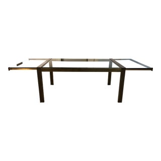 Mastercraft Brass + Glass Extendable Table For Sale