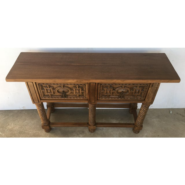 Iron Early 19th Century Carved Walnut Wood Catalan Spanish Console Table For Sale - Image 7 of 13