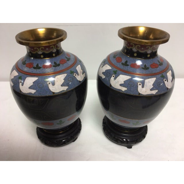 Gray Vintage Asian Cloisonne Vases - A Pair For Sale - Image 8 of 8