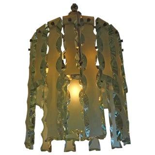 Circa. 1960 Italian Fontana Arte Style Frosted Glass Chandelier