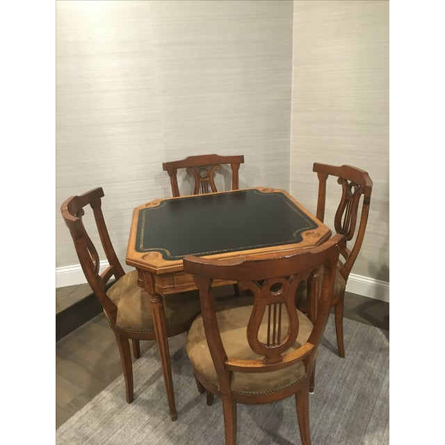 Antique Game Table and Chairs - Set of 5 For Sale In Boston - Image 6 of 8
