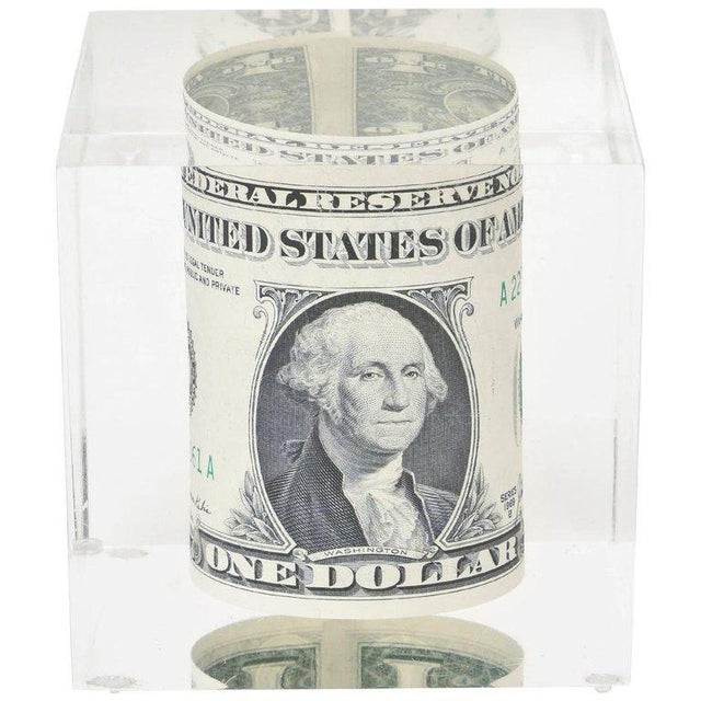 Vintage Dollar Bill Lucite Sculpture / Paperweight For Sale - Image 10 of 10