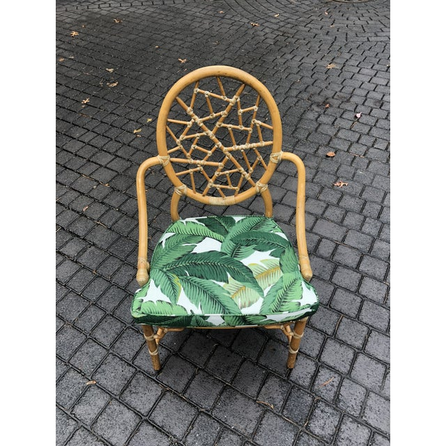 Vintage McGuire Palm Cushion Cracked Ice Rattan Chair - Image 2 of 11
