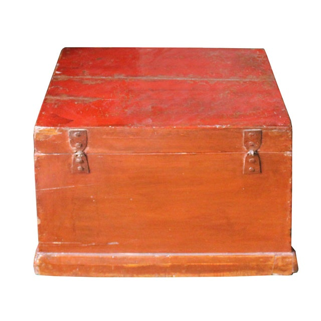 1990s Chinese Vintage Red Kids Theme Trunk Box Chest For Sale - Image 5 of 9