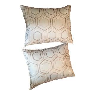 Kravet Soft Petal Blue Designs Bolster Pillows - a Pair