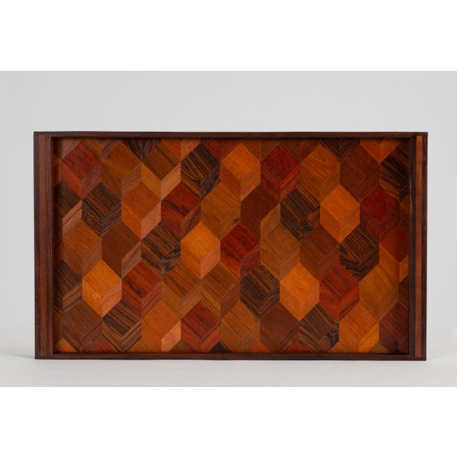 Trompe L'oeil Rosewood Tray by Don Shoemaker for Señal For Sale - Image 10 of 10