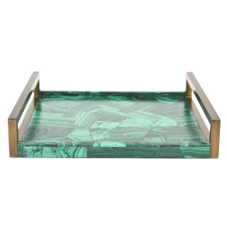 R&Y Augousti Faux Malachite Compostion Wood and Brass Tray For Sale