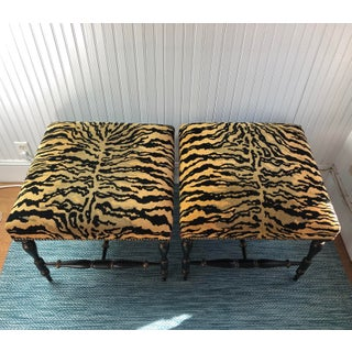 1990s Vintage Velvet Tiger Upholstered Ottomans- A Pair Preview