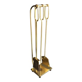 Solid Brass Minimalist Modern Fireplace Tools Set For Sale